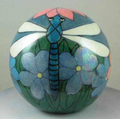 Dragonfly Porcelain Pot with Mother of Pearl