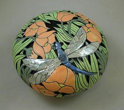 Large Dragonfly Pierced Porcelain Pot