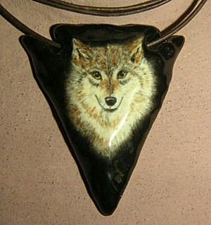 Hand Painted Wolf Native American arrowhead necklace